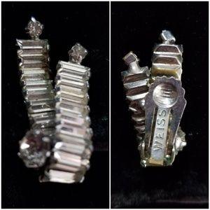 Single Weiss Earring -baguettes, clear rhinestone